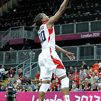 07 August 2012: USA Tamika Catchings goes for the layup during 91-48 Team USA victory over Team Canada, during the women's basketball quarter-finals, at the Basketball Arena, in London, Great Britain.