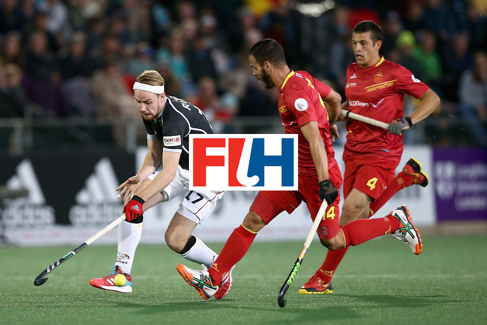JOHANNESBURG, SOUTH AFRICA - JULY 21: Christopher Ruhr of Germany attempts to get past Ricardo Santana of Spain during the semi-final match between Spain and Germany on Day 7 of the FIH Hockey World League - Men's Semi Finals on July 20, 2017 in Johannesburg, South Africa.  (Photo by Jan Kruger/Getty Images for FIH)