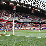 HARRISON, NEW JERSEY- JULY 24: A general view of Red Bull Arena as Sacha Kljestan #16 of New York Red Bulls beats Josh Saunders #12 of New York City FC from the penalty spot for the New York Red Bulls third goal during the New York Red Bulls Vs New York City FC MLS regular season match at Red Bull Arena, Harrison, New Jersey on July 24, 2016 in Harrison, New Jersey. (Photo by Tim Clayton/Corbis via Getty Images)