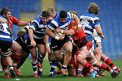 Alafoti Fa'osiliva of Bath Rugby takes on the London Welsh defence - Photo mandatory by-line: Patrick Khachfe/JMP - Mobile: 07966 386802 29/03/2015 - SPORT - RUGBY UNION - Oxford - Kassam Stadium - London Welsh v Bath Rugby - Aviva Premiership
