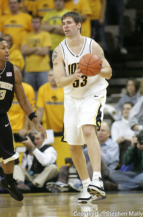 26 NOVEMBER 2007: Iowa center Seth Gorney (53) in Wake Forest's 56-47 win over Iowa at Carver-Hawkeye Arena in Iowa City, Iowa on November 26, 2007.