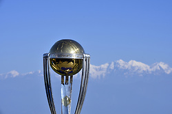October 28, 2018 - Kathmandu, NP, Nepal - The 2019 ICC Cricket World Cup trophy is pictured infront beautiful mountain ranges in Chandragiri Hills during a country tour in Kathmandu, Nepal on Sunday, October 28, 2018. The 2019 Cricket World Cup is to be hosted by England and Wales from 30 May to 14 July 2019. (Credit Image: © Narayan Maharjan/NurPhoto via ZUMA Press)