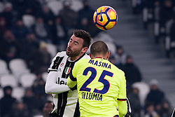 08.01.2017, Juventus Stadium, Turin, ITA, Serie A, Juventus Turin vs FC Bologna, 19. Runde, im Bild Barzagli Andrea (Juventus F.C.), Adam Masina (Bologna F.c.) // Barzagli Andrea (Juventus F.C.), Adam Masina (Bologna F.c.), during the Italian Serie A 19th round match between Juventus Turin and Bologna FC at the Juventus Stadium in Turin, Italy on 2017/01/08. EXPA Pictures © 2017, PhotoCredit: EXPA/ laPresse/ Marco Alpozzi<br /> <br /> *****ATTENTION - for AUT, SUI, CRO, SLO only*****