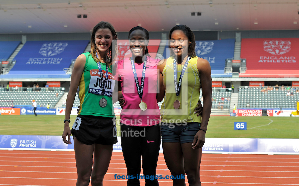 Picture by Alan Stanford/Focus Images Ltd +44 7915 056117<br /> 12/07/2013<br /> (LtoR ) Jessica Judd (GBR) 800m  Marilyn Okoro (GBR) 800m  and Shelayna Oskan-Clarke (GBR) 800m pictured receiving their medals on  day two of Sainsbury's British Championship at Alexander Stadium, Birmingham.