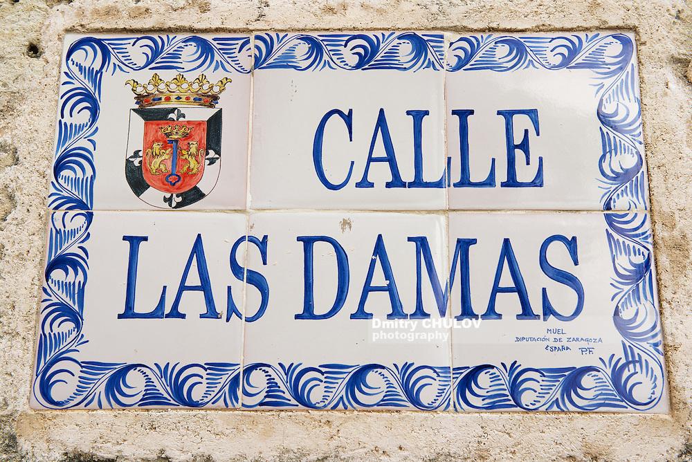 SANTO DOMINGO, DOMINICAN REPUBLIC - NOVEMBER 07, 2012: Exterior of the vintage street name sign in Santo Domingo, Dominican Republic.