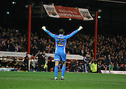 Button celebrating goal during the Sky Bet Championship match between Brentford and Wolverhampton Wanderers at Griffin Park, London, England on 29 November 2014.