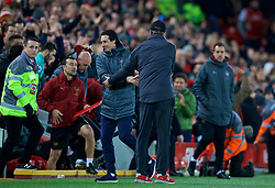 LIVERPOOL, ENGLAND - Saturday, December 29, 2018: Arsenal's manager Unai Emery shakes hands with Liverpool's manager Jürgen Klopp during the FA Premier League match between Liverpool FC and Arsenal FC at Anfield. Liverpool won 5-1. (Pic by David Rawcliffe/Propaganda)