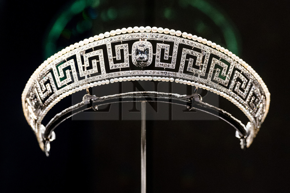 © Licensed to London News Pictures. 31/01/2018. London, UK. A Cartier Tiara (1909) formerly belonging to Lady Allan, the wife of  Sir Hugh Montagu Allan is on display as part of the Ocean Liners: Speed And Style exhibition at the V & A museum. The exhibits will re-imagine the golden age of ocean travel, exploring the design and cultural impact of the ocean liner on an international scale. Photo credit: Ray Tang/LNP