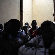 Child inmates at Juba Central Prison's juvenil section. The prison currently accomodates fifthy one inmates with ages between fourteen and eighteen years old. Many are charged with murder and theft.