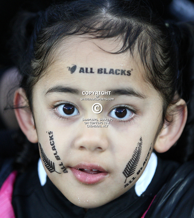 AUCKLAND, NEW ZEALAND - OCTOBER 16, A young all black fan during the 2011 IRB Rugby World Cup Semi Final match between New Zealand and Australia at Eden Park on October 16, 2011 in Auckland, New Zealand<br /> Photo by Steve Haag / Gallo Images