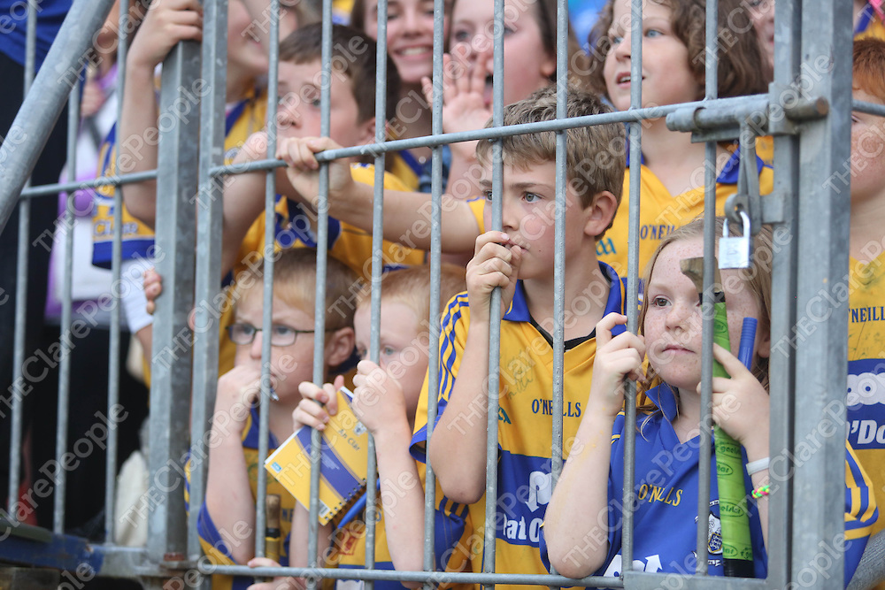 Clare Hurling Fans in Cusack Park to meet the Clare Team on the Open Training Night on Tuesday.<br /> Pic. Brian Arthur/ Press 22.Clare Hurling fan Amy McDonnagh age 8 pictured at  the Open Training Night on Tuesday.<br /> Pic. Brian Arthur/ Press 22.