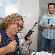 NOVEMBER , 2017&ndash;SAN JUAN, PUERTO RICO&mdash;<br /> NAHJ members Mc Nelly Torres and Rafael Mejia hand out satellite phones to journalists from the Centro de Periodismo Investigativo de Puerto Rico in an effort to help local journalists  better cover their communities. Carla Minet receives a phone.<br /> (Photo by Angel Valentin)