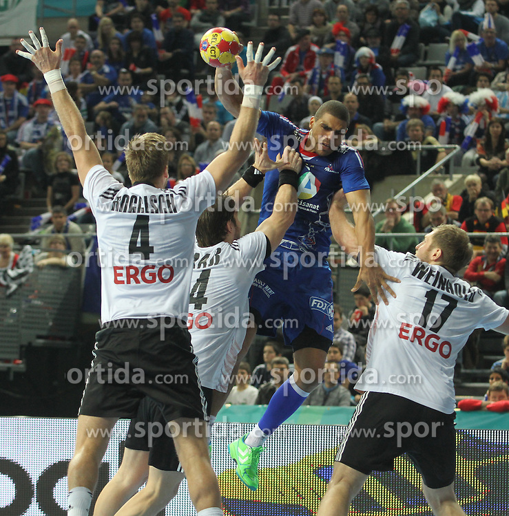 18.01.2013 Barcelona, Spain. IHF men's world championship, prelimanary round. Picture show Daniel Narcisse    in action during game between France vs Germany at Palau St Jordi / Sportida Photo Agency