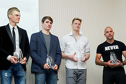 Jan Petrac, Robert Renner, Luka Janezic and his coach Rok Predanic during the Slovenia's Athlete of the year award ceremony by Slovenian Athletics Federation AZS on November 8, 2013 in Grand Hotel Toplice, Bled, Slovenia. Photo by Vid Ponikvar / Sportida