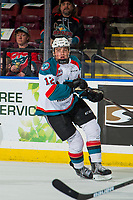 KELOWNA, CANADA - FEBRUARY 2: Cole Carrier #12 of the Kelowna Rockets skates against the Kamloops Blazers  on February 2, 2019 at Prospera Place in Kelowna, British Columbia, Canada.  (Photo by Marissa Baecker/Shoot the Breeze)