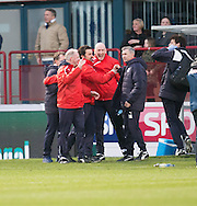 Dundee manager Paul Hartley and the coaching staff celebrate at full time - Dundee v Rangers in the Ladbrokes Scottish Premiership at Dens Park, Dundee.Photo: David Young<br /> <br />  - &copy; David Young - www.davidyoungphoto.co.uk - email: davidyoungphoto@gmail.com