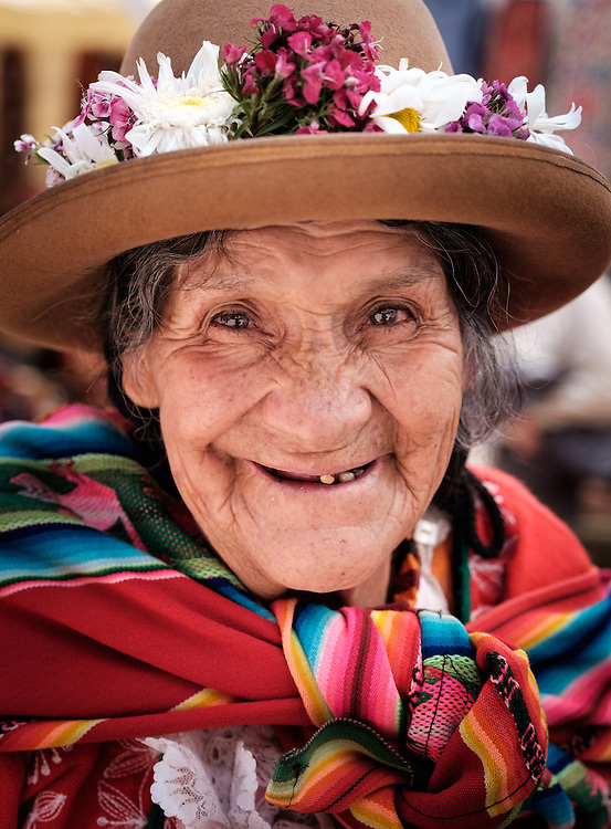 PISAC, PERU - CIRCA OCTOBER 2015:  Portrait of local woman in the town of Pisac, a town in the Cusco region known as Sacred Valley