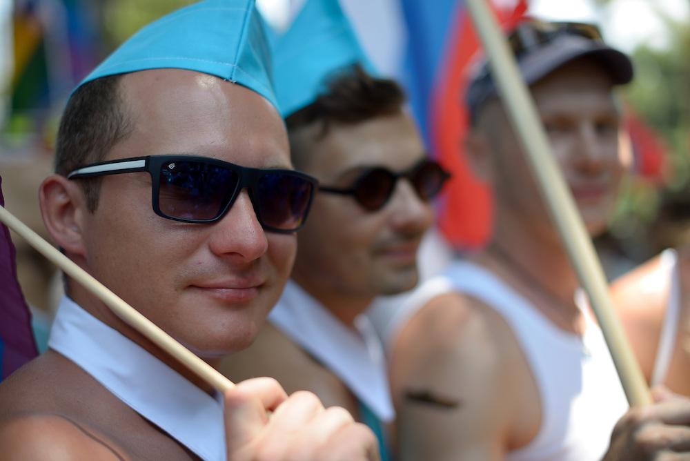 Tel Aviv, Israel - June 13, 2014: Russian Members of the gay comminuty take part in the Annual Gay Pride Parade in Tel Aviv on June 13, 2014. More than 100,000 people took part in the Annual Gay Pride Parade in Tel Aviv. Photo by Gili Yaari
