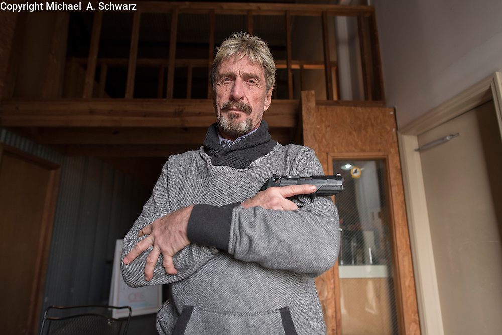 2/3/15 12:11:56 PM -- Opelika, AL, U.S.A  -- John McAfee, founder of McAfee Anti-Virus,  keeps a hand gun to protect himself.   Photo by Michael  A. Schwarz, USA TODAY contract photographer