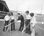 Croke Park worker showing children how to how a hurly correctly during their visit to Croke Park during a Kells Educational Tour on the 25th June 1976.