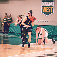 2nd year guard, Faith Reid (13) of the Regina Cougars during the Women's Basketball Home Game on Sat Feb 02 at Centre for Kinesiology,Health and Sport. Credit: Arthur Ward/Arthur Images