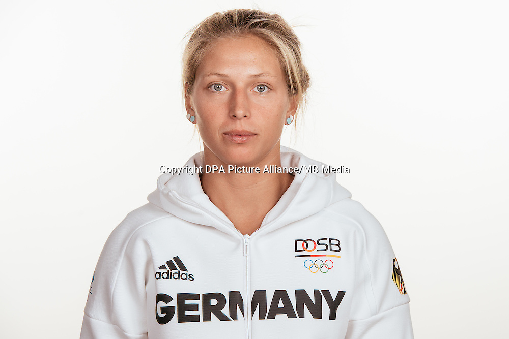 Anika Lorenz poses at a photocall during the preparations for the Olympic Games in Rio at the Emmich Cambrai Barracks in Hanover, Germany, taken on 20/07/16 | usage worldwide