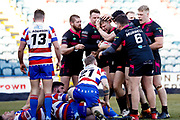 Rochdale Hornets hooker Ben Moores (9) dives in to score a try during the Betfred Championship match between Rochdale Hornets and Halifax RLFC at Spotland, Rochdale, England on 25 February 2018. Picture by Simon Davies.