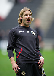 MILTON KEYNES, ENGLAND - Easter Monday, April 9, 2012: Milton Keynes Dons' Alan Smith warms-up before the Football League One match against Tranmere Rovers at the Stadium MK. (Pic by David Rawcliffe/Propaganda)