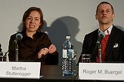 "Press conference and presentation of documenta 12 Magazine Nr. 1 ""Modernity?"" at Secession, Vienna. Martha Stutteregger, designer of magazine Nr.1; Roger M. Buergel, artistic director of documenta 12."