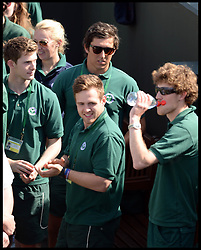Laura Robson's brother Nick Robson (sun Glasses) looks on as she signs autographs on court No2  after beating Marina Erakovic at<br /> The All England Lawn Tennis Club, Wimbledon, United Kingdom<br /> Saturday, 29th June 2013<br /> Picture by Andrew Parsons / i-Images