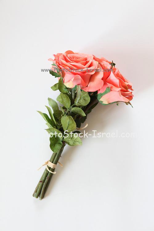 Silk Pink Rose Bouquet on white background
