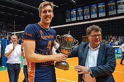 12-05-2019 NED: Abiant Lycurgus - Achterhoek Orion, Groningen<br /> Final Round 5 of 5 Eredivisie volleyball, Orion wins Dutch title after thriller against Lycurgus 3-2 / Joris Marcelis #4 of Orion