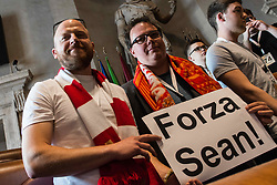 May 2, 2018 - Rome, Italy, Italy - The president of the Capitoline Assembly, Marcello De Vito, (not pictured) receives in Campidoglio, in the Giulio Cesare Hall, a delegation of AS Roma and Liverpool FC supporters including Gareth Roberts, (not pictured) director of the Reds information magazine 'The Anfield Wrap', to renew the spirit of sporting friendship between the fans of the two teams and solidarity with Liverpool supporter Sean Cox, 53, who remains in a critical condition after clashes between fans near Anfield football stadium, after UEFA Champions League semi-final first leg match between AS Roma and Liverpool in Rome, Italy, on May 2, 2018 in Rome, Italy  (Credit Image: © Andrea Ronchini/NurPhoto via ZUMA Press)