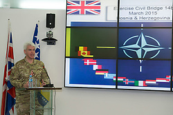 Image shows Brigadier Alistair Aitkin, Commander Security Assistance Group (77 Brigade) at a press conference for Exercise Civil Bridge held at the Ministry of Security in Sarajevo, Bosnia &amp; Herzegovina (BiH). 17/03/2015.<br /> <br /> The press conference was attended by representatives of the BiH governmment and the British Ambassador to BiH, Edward Furguson and Brigadier Alistair Aitkin, (pictured) Commander Security Assistance Group (77 Brigade).<br /> <br /> Credit should read: Cpl Mark Larner, Media Ops Group.<br /> <br /> Exercise Civil Bridge is an exercise in support of UK Defence Engagement by elements of 77 Brigade. Civil Bridge 14B (CB14B) is being conducted Sarajevo, Bosnia &amp; Herzegovina (BiH).<br /> <br /> By assisting the BiH Government to develop their contingency plans for natural disasters at both strategic and operational levels, CB14B will contribute to the long term international effort to stabilise BiH ethnic groups and authorities.