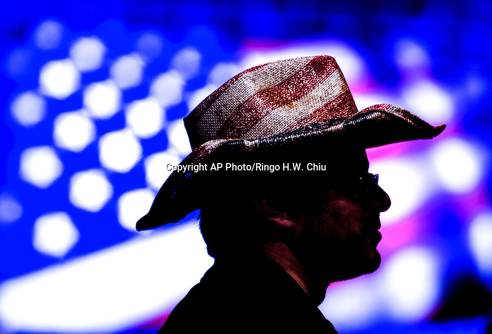 A supporter in a rally for democratic presidential candidate Sen. Bernie Sanders, I-Vt., Monday, Aug. 10, 2015, at the Los Angeles Memorial Sports Arena in Los Angeles.