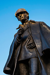 Statue of Sherlock Holmes at Picardy Place in Edinburgh commemorating birthplace of Sir Arthur Conan Doyle in Edinburgh, Scotland, united Kingdom.