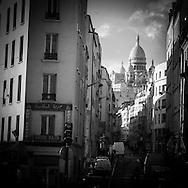 Paris 18th district. The sacre coeur view from barbes boulevard / le sacre coeur vu depuis Barbes