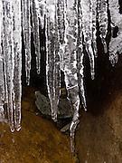 Icicles drip clear water. Washington, USA.
