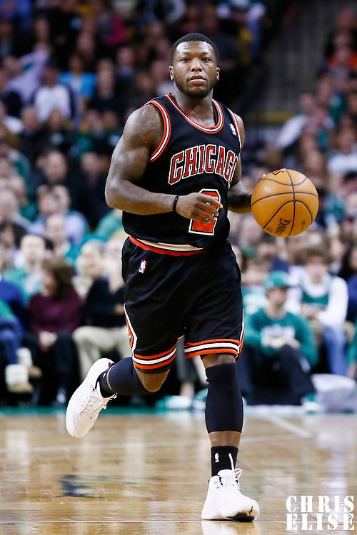 18 January 2013: Chicago Bulls point guard Nate Robinson (2) brings the ball upcourt during the Chicago Bulls 100-99 overtime victory over the Boston Celtics at the TD Garden, Boston, Massachusetts, USA.