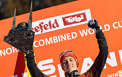 29.01.2017, Casino Arena, Seefeld, AUT, FIS Weltcup Nordische Kombination, Seefeld Triple, Siegerehrung, 3. Tag, im Bild Sieger Eric Frenzel (GER) // Winner Eric Frenzel of Germany celebrates on Podium after the 3rd Day of the FIS Nordic Combined World Cup Seefeld Triple at the Casino Arena in Seefeld, Austria on 2017/01/29. EXPA Pictures © 2017, PhotoCredit: EXPA/ JFK