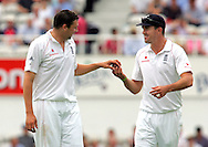 Photo © ANDREW FOSKER / SPORTZPICS 2008 -  A smiling & pleased England Captain Kevin Pietersen (R) gives Steve Harmison the ball during his excellent first over  - England v South Africa - 07/08/08 - Fourth nPower Test Match -  Day 1 - The Brit Oval - London - UK - All rights reserved