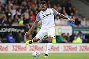 Derby County midfielder Tom Huddlestone strikes the ball during the Pre-Season Friendly match between Burton Albion and Derby County at the Pirelli Stadium, Burton upon Trent, England on 20 July 2019.