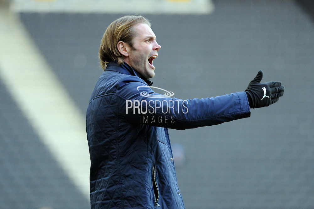 MK Dons manager Robbie Neilson during the EFL Sky Bet League 1 match between Milton Keynes Dons and Northampton Town at stadium:mk, Milton Keynes, England on 21 January 2017. Photo by Andy Handley.