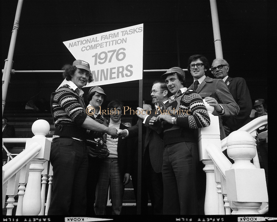 National Farm Tasks Competition Final  (K25).1976..07.05.1976..05.07.1976..7th May 1976..The final of the National Farm Tasks Competition were held in the R.D.S.(Royal Dublin Showgrounds, Dublin) The competition was sponsored by Irish Shell Ltd. Over 400 teams originally took part in the competition. The overall winners were the Tullyallen,Co Louth branch of Macra na Ferime..Image shows The Tullyallen team of Gerry Healy, George O'Brien and Pat Winters being presented with their award by Mr Bernard Nolan (fourth from left) Managing Director, Irish Shell,Ltd.