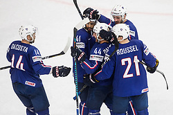 Stephane da Costa of France and other players of France celebrate after scoring third goal during the 2017 IIHF Men's World Championship group B Ice hockey match between National Teams of France and Belarus, on May 12, 2017 in AccorHotels Arena in Paris, France. Photo by Vid Ponikvar / Sportida