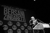 """ROME, ITALY - 22 FEBRUARY 2013: Pierluigi Bersani (61), leader of the Democratic Party and candidate for Prime Minister of Italy in the 2013 Italian general elections, closes his campaign at the Teatro Jovinelli Theatre in Rome, Italy, on February 22, 2013.<br /> A general election to determine the 630 members of the Chamber of Deputies and the 315 elective members of the Senate, the two houses of the Italian parliament, will take place on 24–25 February 2013. The main candidates running for Prime Minister are Pierluigi Bersani (leader of the centre-left coalition """"Italy. Common Good""""), former PM Mario Monti (leader of the centrist coalition """"With Monti for Italy"""") and former PM Silvio Berlusconi (leader of the centre-right coalition).<br /> <br /> ###<br /> <br /> ROMA, ITALIA - 22 FEBBRAIO 2013: Pierluigi Bersani (61 anni), leader del Partito Democratico e candidato premier nelle elezioni politiche del 2013, chiude la campagna elettorale al Teatro Jovinelli, a Roma il 22 febbraio 2013.<br /> Le elezioni politiche italiane del 2013 per il rinnovo dei due rami del Parlamento italiano – la Camera dei deputati e il Senato della Repubblica – si terranno domenica 24 e lunedì 25 febbraio 2013 a seguito dello scioglimento anticipato delle Camere avvenuto il 22 dicembre 2012, quattro mesi prima della conclusione naturale della XVI Legislatura. I principali candidate per la Presidenza del Consiglio sono Pierluigi Bersani (leader della coalizione di centro-sinistra """"Italia. Bene Comune""""), il premier uscente Mario Monti (leader della coalizione di centro """"Con Monti per l'Italia"""") e l'ex-premier Silvio Berlusconi (leader della coalizione di centro-destra)."""