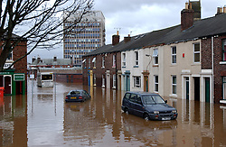Flooding Carlisle Northern England January 2005 following River Eden bursting its banks