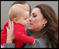 The Duchess of Cambridge and Prince George  leaving  Canberra airport in Australia at the end of their Royal Tour , Friday, 25th April 2014. Picture by Stephen Lock / i-Images