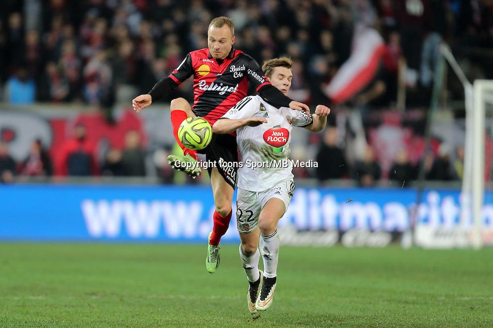 Lars JACOBSEN / Benjamin JEANNOT  - 24.01.2015 - Guingamp / Lorient - 22eme journee de Ligue1<br />