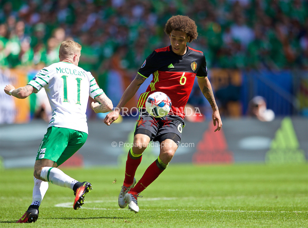 BORDEAUX, FRANCE - Saturday, June 18, 2016: Belgium's Axel Witsel in action against Republic of Ireland's James McClean during the UEFA Euro 2016 Championship Group E match at Stade de Bordeaux. (Pic by Paul Greenwood/Propaganda)